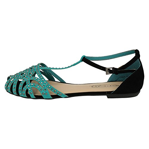 Spot On Ladies Bar Studded Closed Toe Summer Shoes Teal (Blue) jkEifG