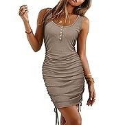 KILIG Women's Sleeveless Ruched Bodycon Tank Dress Button Down Club Party Mini Dress
