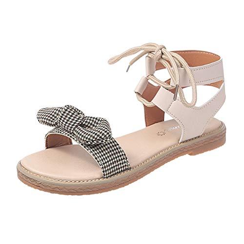 TIFENNY Ladies Summer Bohemian Cross-Tied Bowknot Flat Beach Sandals Fashion New Dot Print Roman Single Shoes Beige