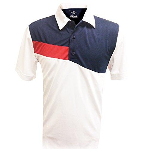 Monterey Club Mens Dry Swing Side Slash Contrast Self Collar Shirt #1193 (White/Navy, Medium) (Mens Swing)