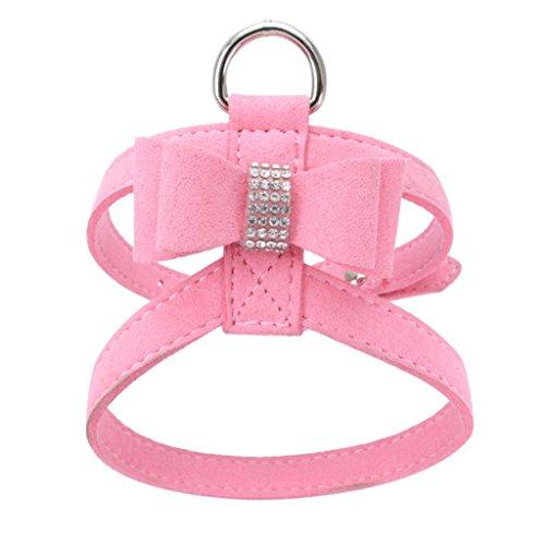 YJYdada Chest Straps, Adjustable Pet Dog Leads Bowknot Diamond Chest Straps (S, Pink)