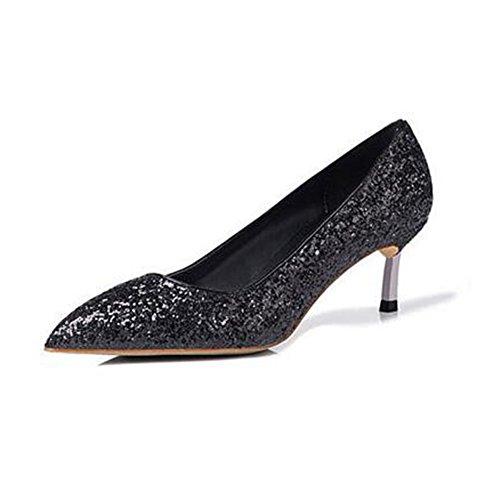 Hauts Cm Sunny Peu Femmes Black 5 Fin Robe Paillettes Profonde Talons 5 Party Talon Chaussures Pointu pour Rencontres Bouche wRfXqRTn