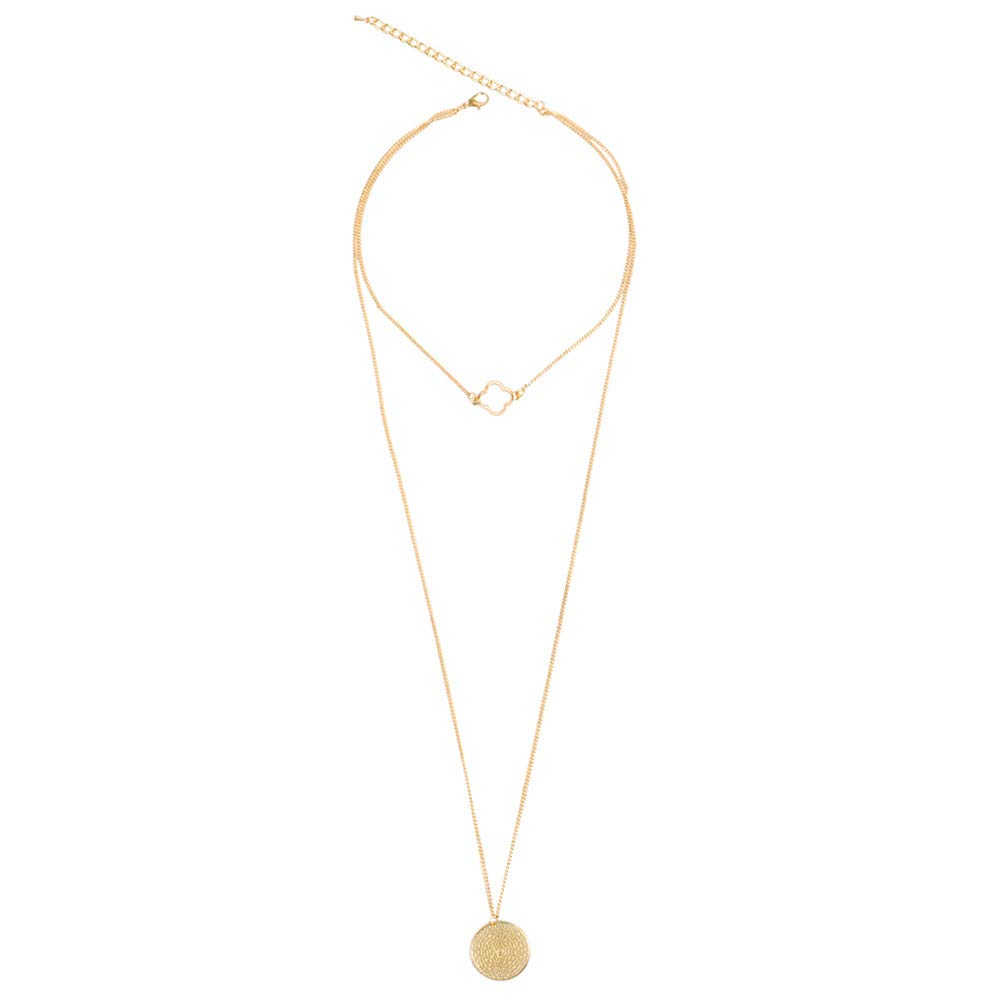 MYYQ Women Necklace Pendant,European and American Fashion Items Multi-Layer Four-Leaf Grass Hollow Wafer Accessories Necklace Sweater Chain Female Hundred 51cm
