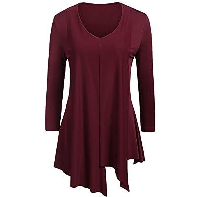 Cheap Zeagoo Women Plus Size 3/4 Sleeve Tunic Tops Loose Basic Shirt Irregular Hem Ruffle Blouse free shipping