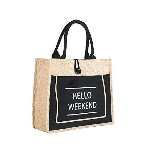Organic Bag Shopping Bag Mummy/'s Organic Produce Medium Jute Bag Reusable Black Shopper