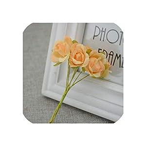 April With You 6pcs/lot Simulation Mini Rose Artificial Flower Garland Headdress Wedding Decoration Marriage Bridal Flowers Box Decoration,Champagne 110