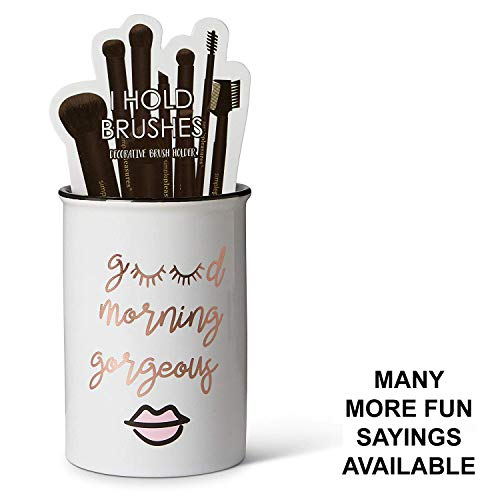 "Tri-coastal Design Ceramic Makeup Brush Holder Storage""Good Morning Gorgeous"" Cosmetic Organizer for Make Up Brushes and Accessories - Round White Cosmetics Cup for Bathroom Vanity Countertop"