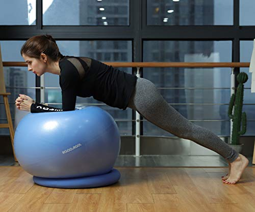 RGGD&RGGL Yoga Ball Chair, Exercise Balance Ball Chair 65cm with Inflatable Stability Ring, 2 Resistant Bands and Pump for Core Strength and Endurance (Upgrade Blue) by RGGD&RGGL (Image #5)
