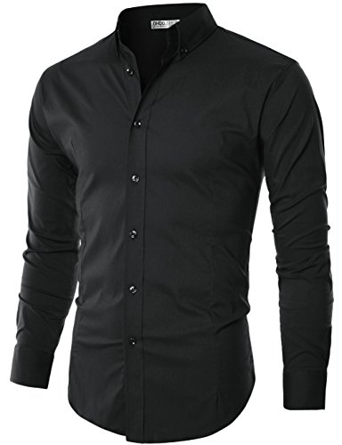 Ohoo Mens Slim Fit Long Sleeve Flexibility Casual Button Down Shirt Added Darts/DCC003-BLACK-M/US S