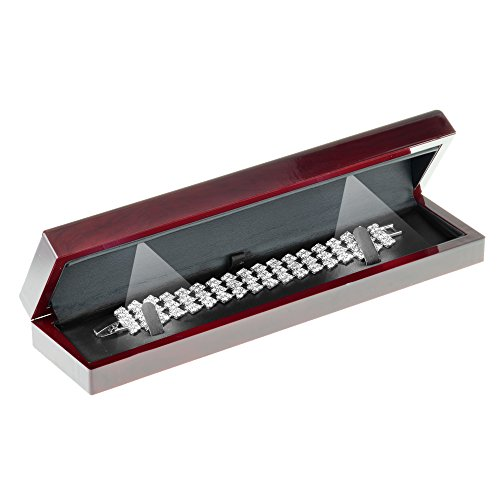Geff House Cherry Wood Style Plastic Bracelet Gift Box with LED Lights (Black Interior)