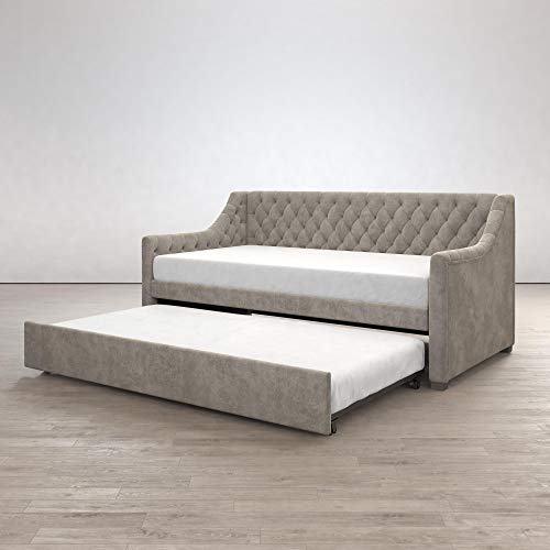 Little Seeds 4336439LS Monarch Hill Ambrosia Upholstered, Light Grey Velvet, Twin Daybed and Trundle Gray