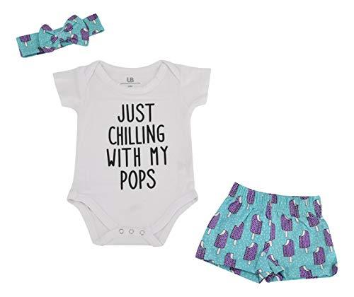 Unique Baby Girls Popsicle Print Onesie Shorts Headband 3 Piece Layette Set (6m) Blue]()