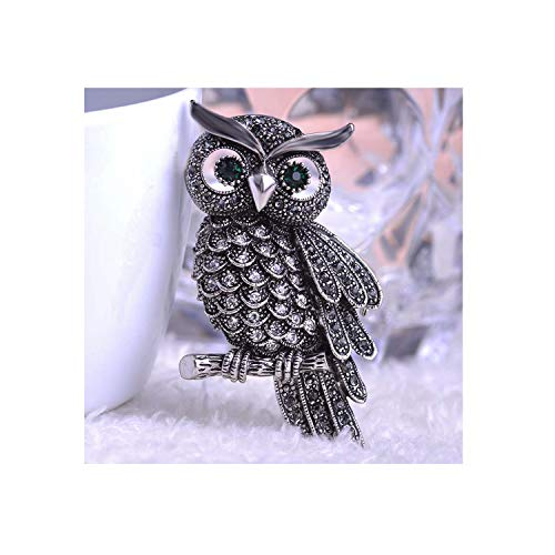 Austrian Crystal Big Owl Brooch For Party Dress Accessories Vintage Corsage Scarf Buckle,Anti Silver Gray
