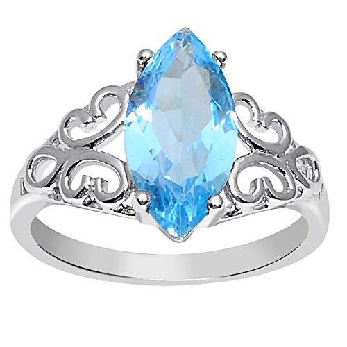 Orchid Jewelry 3 Ct Marquise Blue Topaz 925 Sterling Silver Ring for Women: Nickel Free Cute and Simple Mother and Wife Birthday Gift: Ring Size-8
