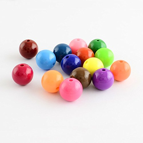 AMZ Beads - Package of 200 Beads in 8mm! Acrylic Rainbow Assorted Multi-Colored Loose Round Ball Beads Mix - for Jewelry Making DIY Kids Craft Projects!