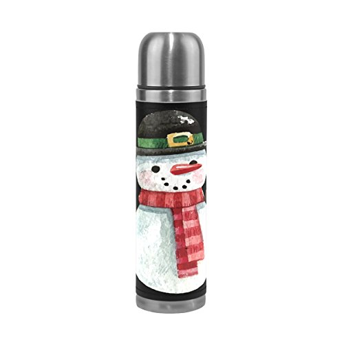 TSWEETHOME Vacuum Insulated Water Bottle Double Wall Stainless Steel Leak Proof Wide Mouth with Novelty Graphic Watercolor Snowman Compact Bottle Beverage Bottle (Beverage Snowman Dispenser)
