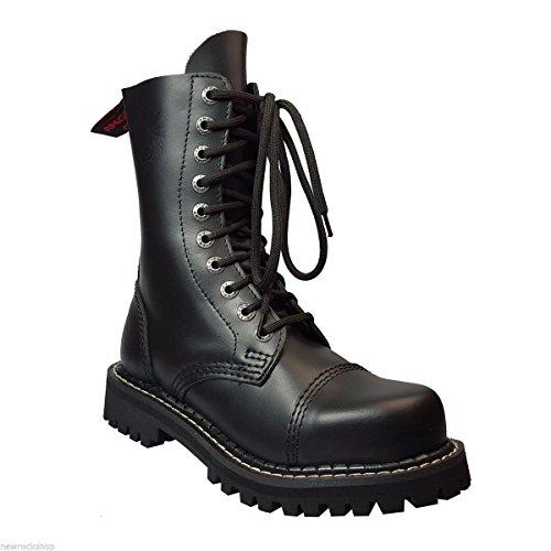 Angry Itch 10 Buchi Stivali Militari Anfibi in Pelle Color Nero punta di ferro punk