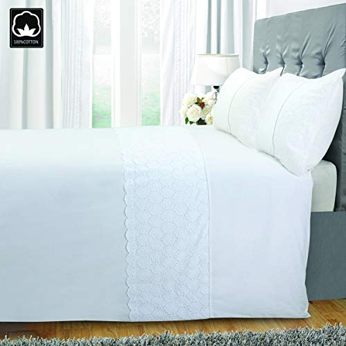 Eyelet Cover - ZIGGUO Chic Vintage, 100% Cotton Eyelet Duvet Cover and Pillowcase Set King, White Bedding Set Bed Cover 3pc, Embroidered Floral Pattern, Decorative Lace Trim, Stark White for All Season