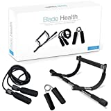 Blade Health - Doorway Pull Up Bar, Jump Rope, and Hand Grip Strengthener (3 Pack) Portable Home Gym Equipment