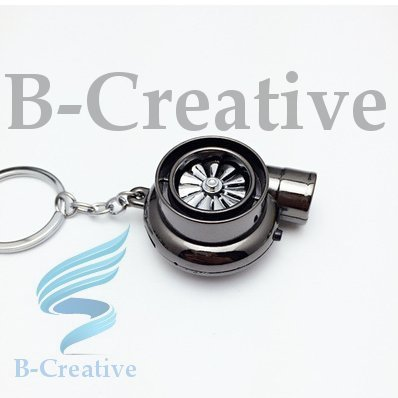 B-Creative UK Premium Quality LED Turbo Supercharger Turbine Rechargeable USB Electronic Cigarette Lighter Keyring KeyChain 2017 (Black Nickle): Toys & Games