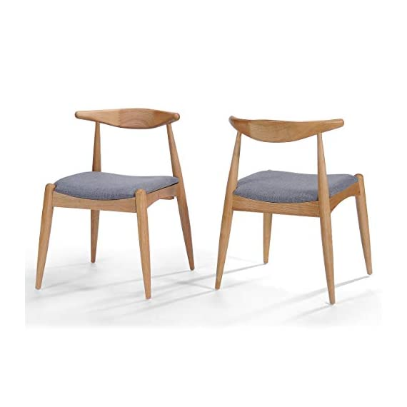"""Christopher Knight Home Francie Fabric with Oak Finish Dining Chairs, 2-Pcs Set, Grey / Oak - """"Includes: Two (2) Dining Chairs Material: Fabric  Composition: 100% Polyester Leg Material: Rubber wood Color: Grey Leg Finish: Oak Some Assembly Required Dimensions: 21.25 inches deep x 21.45 inches wide x 29.52 inches high Seat Width: 18.25 inches Seat Depth: 18.00 inches Seat Height: 17.75 inches"""" - kitchen-dining-room-furniture, kitchen-dining-room, kitchen-dining-room-chairs - 41SfN7o%2BYxL. SS570  -"""