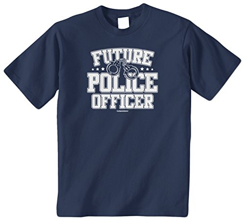 Threadrock Big Boys' Future Police Officer Youth T-Shirt S Navy -
