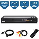 Home DVD Player for TV, HDMI Output Full HD 1080p Upscaling, USB Port, Supports Multi Region Code Free DVDs, Free 5-Feet HDMI Cable, Progressive-scan Technology, Premium Metal Case, Remote Control
