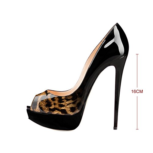 For Party Dress Women's Pumps Slip B Stiletto Fashion Peep On Extreme Leopard High Onlymaker Shoes Toe Handmade Wedding 8qPngvvdx