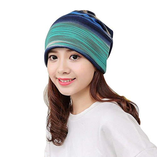 Multi Head Scarf (YANG-YI 2017 Women Hats Stripe Hat Ruffle Cancer Hat Beanie Scarf Collar Turban Head Wrap Cap (Blue, one size))