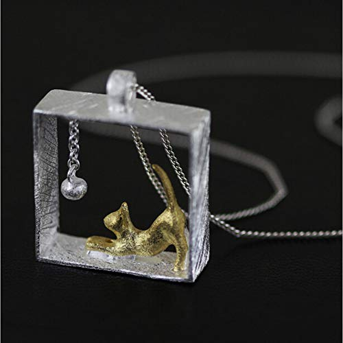 GAJSDJHN Necklace Jewelry Sterling Silver Cat Choker Long Necklaces for Women Rectangle Animals Necklaces Jewelry