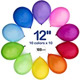 WinkyBoom Balloons Assorted Color 12 Inch 100 Pcs Helium Quality Latex For Birthday Party Decoration