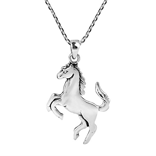 AeraVida Galloping Shiny Horse Double Sided .925 Sterling Silver Necklace
