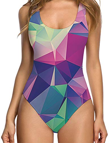 - RAISEVERN Womens's Diamond Geometry Printed Monokini One Piece Swimsuits Bathing Suit Swimwear 80s Clothes Beachwear