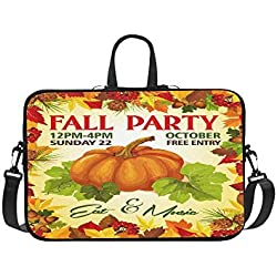 Fall Party Invitation Poster of Leaflet Template F Pattern Briefcase Laptop Bag Messenger Shoulder Work Bag Crossbody Handbag for Business Travelling