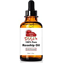 Nature Drop's Rosehip Oil - 100% Pure, Cold Pressed Premium Rosehip Seed Oil. Best Natural moisturizer to heal Dry Skin, Fine Lines & Scars