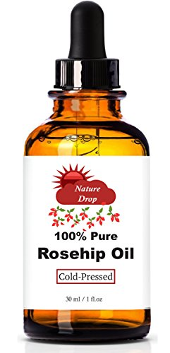 Nature Drops Rosehip Oil - 100% Pure, Cold Pressed Premium Rosehip Seed Oil. Best Natural moisturizer to heal Dry Skin, Fine Lines & Scars