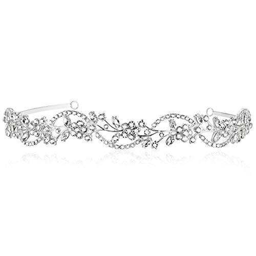 Bridal Flower Rhinestones Crystal Wedding Headband Tiara (Clear Crystals Silver Plated)