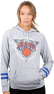 Ultra Game Women's NBA Soft Fleece Pullover Hoodie Sweatshirt with Varsity Stripe, New York Knicks, Heathe
