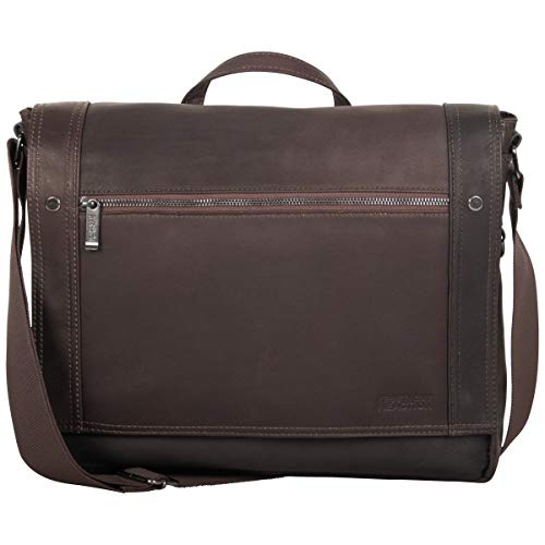 Kenneth Cole Reaction Mess Essentials Full-Grain Colombian Leather Slim Flapover Business Laptop Messenger Bag, Dark Brown