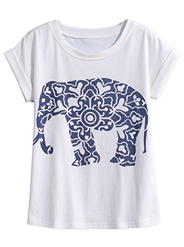 Shein Women's Short Sleeve White Elephant Print T-Shirt (one size, White)