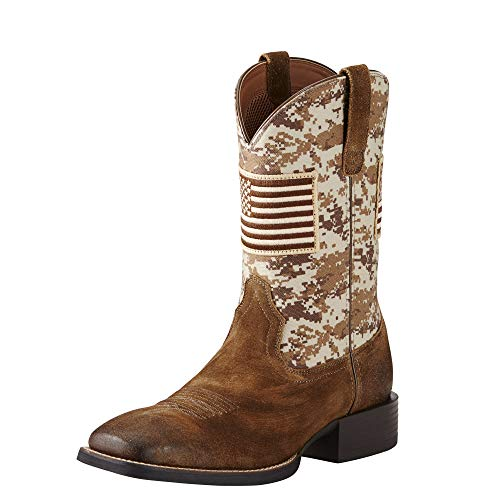 Mens Cowboy Boot - Ariat Men's Sport Patriot Western Cowboy Boot, Antique Mocha Suede, 10 D US