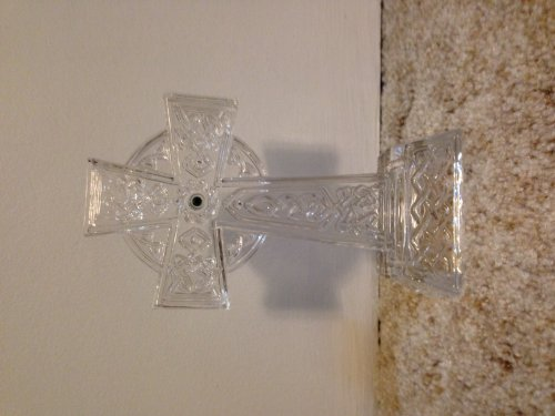 Lenox Crystal Cross with Green Jewel in Center