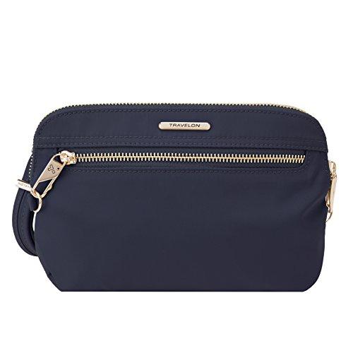 Travelon Womens Anti-Theft Tailored Convertible Crossbody Clutch Cross Body Bag, Sapphire, One Size