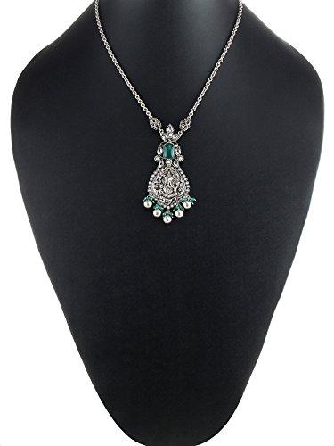 aarohee Mèche Indian Temple Chaîne avec pendentif en argent sterling oxydé et pierres semi-précieuses, vert polki et perles pour femme aau179