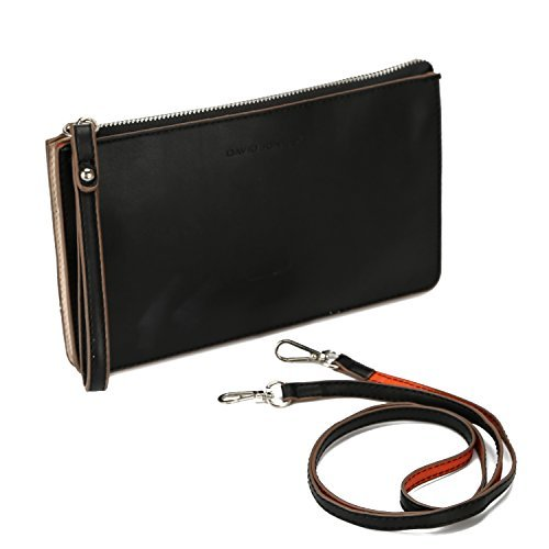 DAVIDJONES-Womens-Synthetic-Leather-Crossbody-Wristlet-Clutch-with-Wrist-Strap