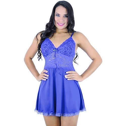 bf1a31c5d Camisola Azul em Liganete e Renda com Calcinha Jamile - MS1700 ...