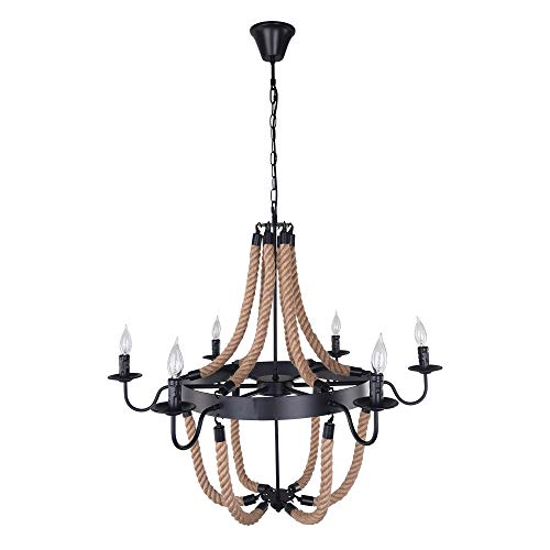 EDISLIVE Candle lampshade 6-Lights Industrial Style Hemp Rope Rustic Chandelier Farmhouse Pendant Light Fixture Rope and Metal Island Indoor Lighting for Living Room Restaurant