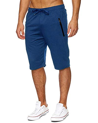 Voncheer Mens Casual Summer Elastic Waist Drawstring Shorts with Zipper Pockets (2XL, Royal Mens Shorts)