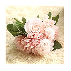 Wedding Bouquet Artificial Dahlia Rose Silk Flower Bunch Bride Holding Flowers Home Hotel Wedding Party Garden Floral Decoration (Light Pink) 64