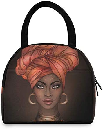 senya Lunch Bag African American Woman Insulated Lunch Box Cooler Bag Tote Bag for Women Kids/Picnic/School/Work